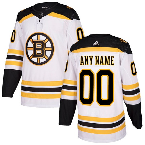 Men's Adidas Boston Bruins Customized Authentic White Away NHL Jersey