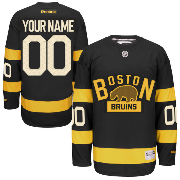Men's Reebok Boston Bruins Customized Authentic Black 2016 Winter Classic NHL Jersey