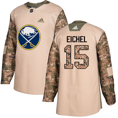 Men's Adidas Buffalo Sabres #15 Jack Eichel Authentic Camo Veterans Day Practice NHL Jersey