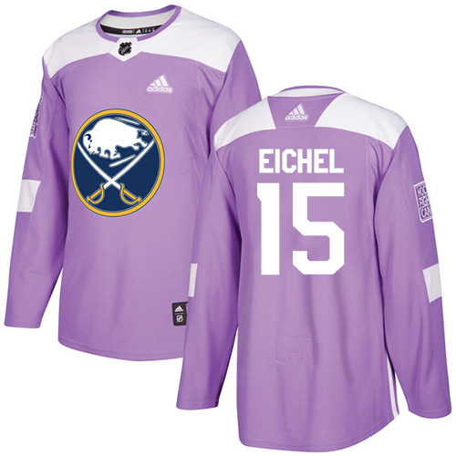 Men's Adidas Buffalo Sabres #15 Jack Eichel Authentic Purple Fights Cancer Practice NHL Jersey