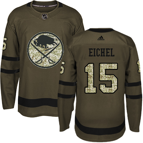 Men's Adidas Buffalo Sabres #15 Jack Eichel Premier Green Salute to Service NHL Jersey