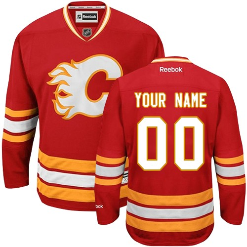 Men's Reebok Calgary Flames Customized Premier Red Third NHL Jersey