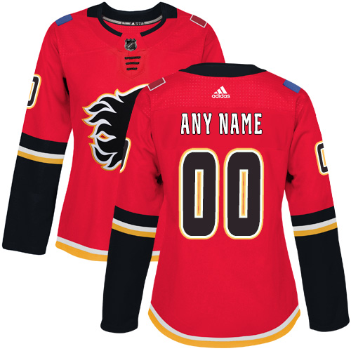 Women's Adidas Calgary Flames Customized Authentic Red Home NHL Jersey