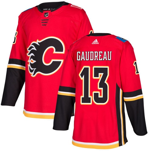 Men's Adidas Calgary Flames #13 Johnny Gaudreau Authentic Red Home NHL Jersey