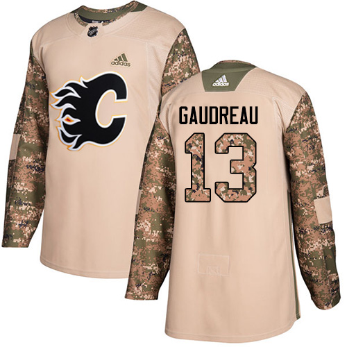 Men's Adidas Calgary Flames #13 Johnny Gaudreau Authentic Camo Veterans Day Practice NHL Jersey