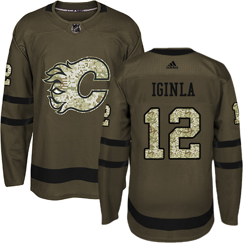 Men's Adidas Calgary Flames #12 Jarome Iginla Authentic Green Salute to Service NHL Jersey