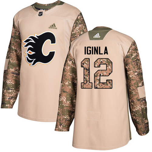 Men's Adidas Calgary Flames #12 Jarome Iginla Authentic Camo Veterans Day Practice NHL Jersey