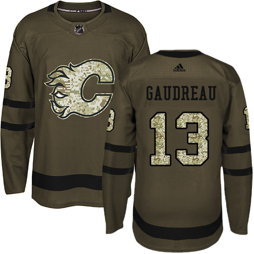 Men's Adidas Calgary Flames #13 Johnny Gaudreau Authentic Green Salute to Service NHL Jersey
