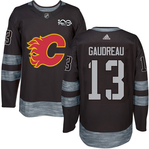 Men's Adidas Calgary Flames #13 Johnny Gaudreau Authentic Black 1917-2017 100th Anniversary NHL Jersey