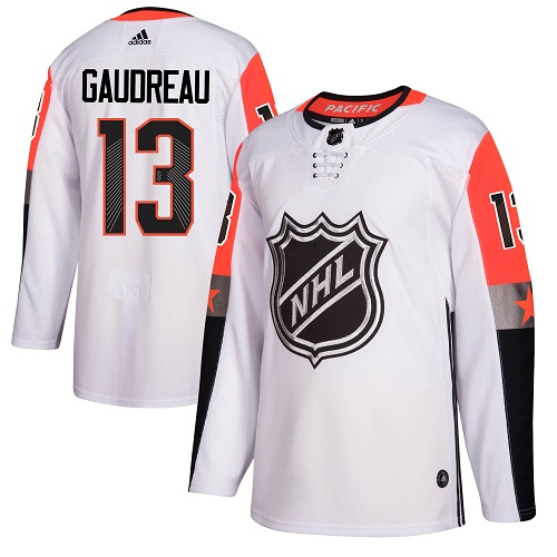 Men's Adidas Calgary Flames #13 Johnny Gaudreau Authentic White 2018 All-Star Pacific Division NHL Jersey