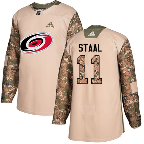 Men's Adidas Carolina Hurricanes #11 Jordan Staal Authentic Camo Veterans Day Practice NHL Jersey