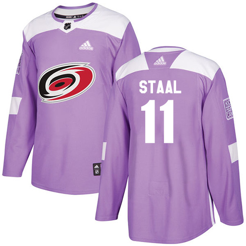 Men's Adidas Carolina Hurricanes #11 Jordan Staal Authentic Purple Fights Cancer Practice NHL Jersey