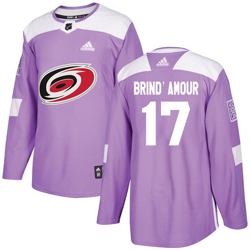 Men's Adidas Carolina Hurricanes #17 Rod Brind'Amour Authentic Purple Fights Cancer Practice NHL Jersey