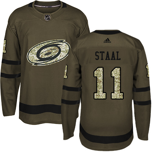 Men's Adidas Carolina Hurricanes #11 Jordan Staal Authentic Green Salute to Service NHL Jersey