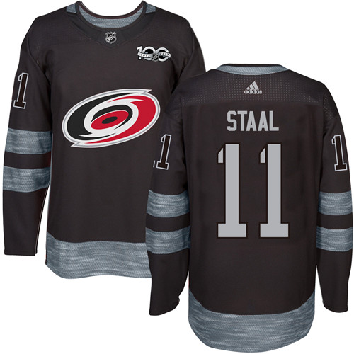 Men's Adidas Carolina Hurricanes #11 Jordan Staal Authentic Black 1917-2017 100th Anniversary NHL Jersey