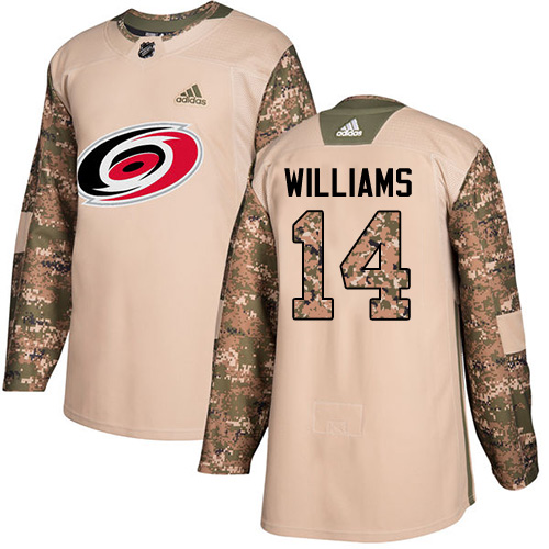 Men's Adidas Carolina Hurricanes #14 Justin Williams Authentic Camo Veterans Day Practice NHL Jersey