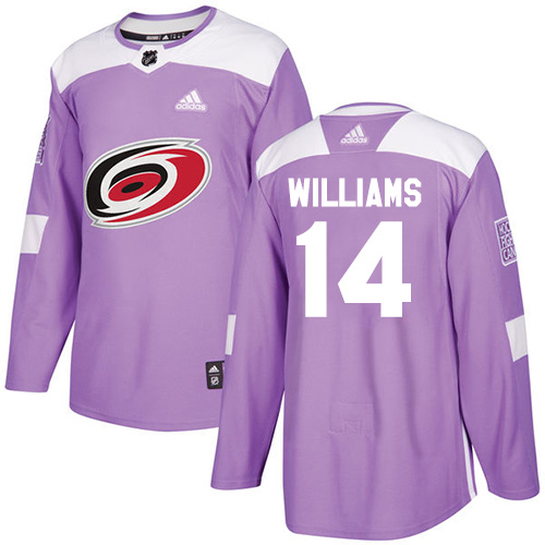 Men's Adidas Carolina Hurricanes #14 Justin Williams Authentic Purple Fights Cancer Practice NHL Jersey