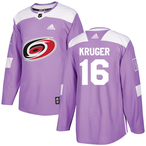 Men's Adidas Carolina Hurricanes #16 Marcus Kruger Authentic Purple Fights Cancer Practice NHL Jersey