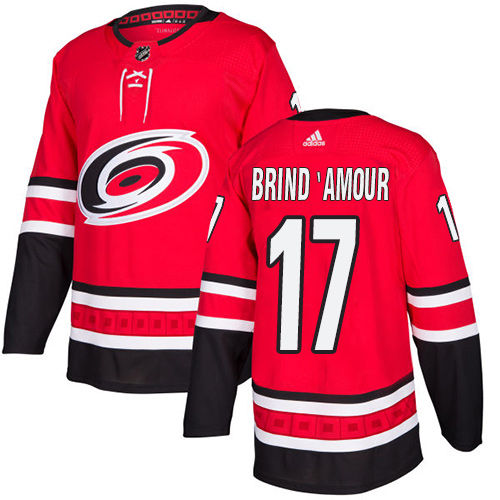 Men's Adidas Carolina Hurricanes #17 Rod Brind'Amour Authentic Red Home NHL Jersey