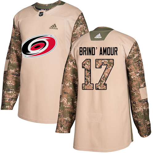 Men's Adidas Carolina Hurricanes #17 Rod Brind'Amour Authentic Camo Veterans Day Practice NHL Jersey