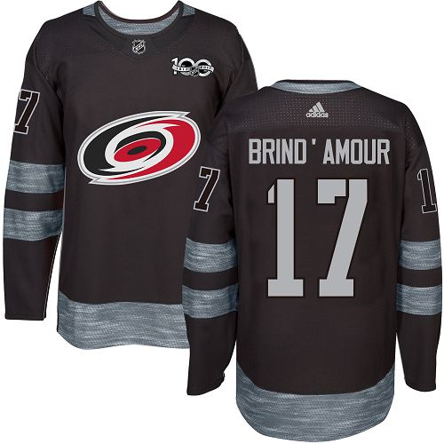Men's Adidas Carolina Hurricanes #17 Rod Brind'Amour Authentic Black 1917-2017 100th Anniversary NHL Jersey