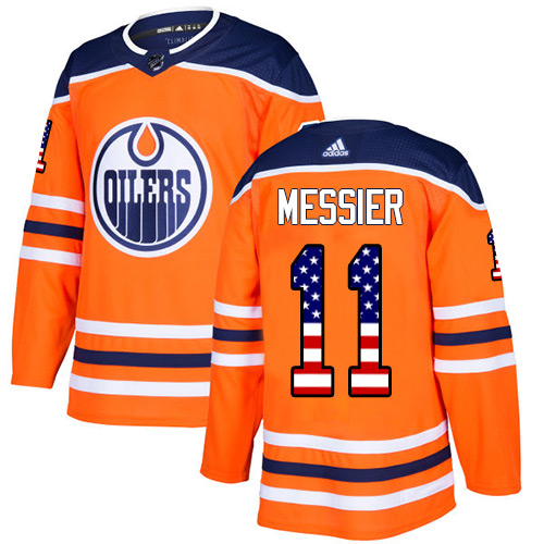 Men's Adidas Edmonton Oilers #11 Mark Messier Authentic Orange USA Flag Fashion NHL Jersey