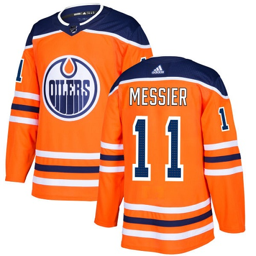 Men's Adidas Edmonton Oilers #11 Mark Messier Authentic Orange Home NHL Jersey
