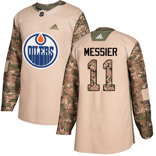 Men's Adidas Edmonton Oilers #11 Mark Messier Authentic Camo Veterans Day Practice NHL Jersey