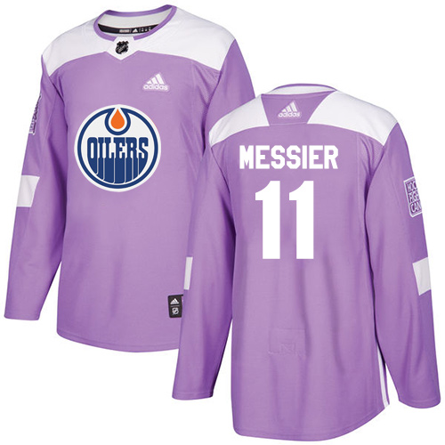 Men's Adidas Edmonton Oilers #11 Mark Messier Authentic Purple Fights Cancer Practice NHL Jersey