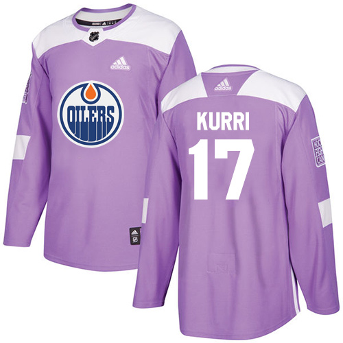 Men's Adidas Edmonton Oilers #17 Jari Kurri Authentic Purple Fights Cancer Practice NHL Jersey