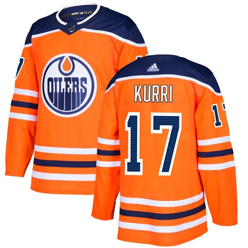 Men's Adidas Edmonton Oilers #17 Jari Kurri Authentic Orange Home NHL Jersey