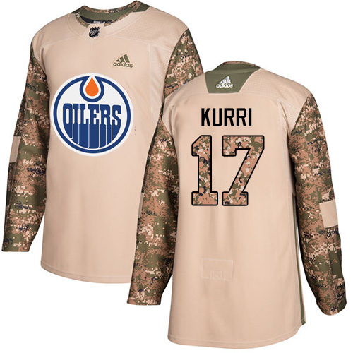Men's Adidas Edmonton Oilers #17 Jari Kurri Authentic Camo Veterans Day Practice NHL Jersey