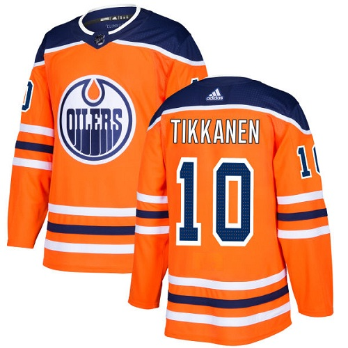 Men's Adidas Edmonton Oilers #10 Esa Tikkanen Authentic Orange Home NHL Jersey
