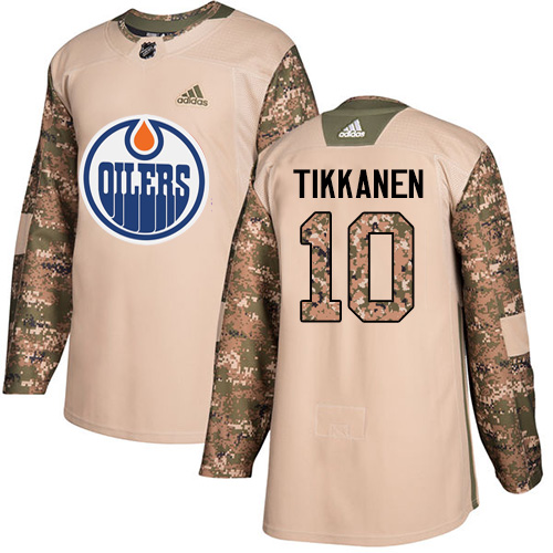 Men's Adidas Edmonton Oilers #10 Esa Tikkanen Authentic Camo Veterans Day Practice NHL Jersey