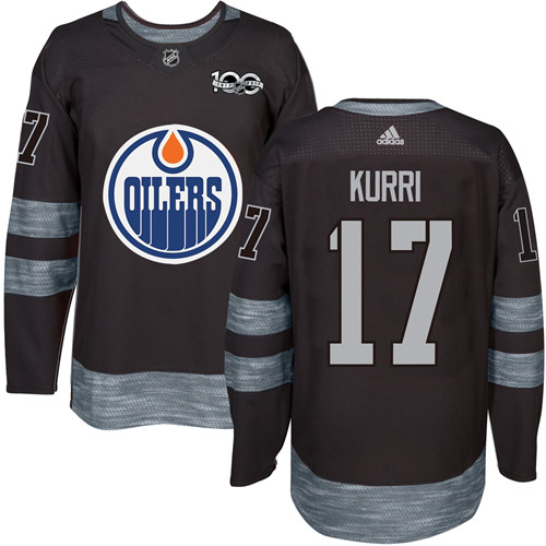 Men's Adidas Edmonton Oilers #17 Jari Kurri Authentic Black 1917-2017 100th Anniversary NHL Jersey
