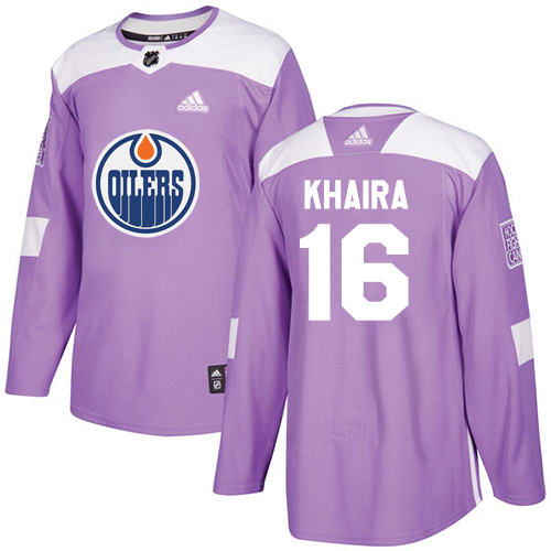 Men's Adidas Edmonton Oilers #16 Jujhar Khaira Authentic Purple Fights Cancer Practice NHL Jersey