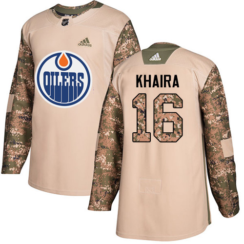 Men's Adidas Edmonton Oilers #16 Jujhar Khaira Authentic Camo Veterans Day Practice NHL Jersey