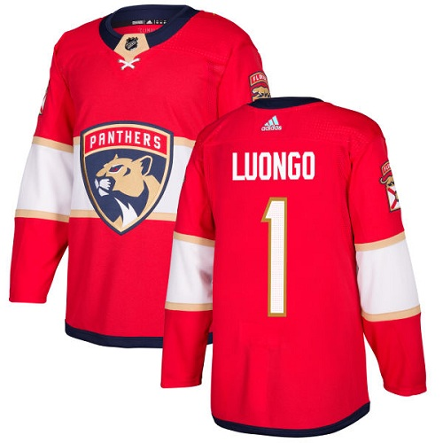 Men's Adidas Florida Panthers #1 Roberto Luongo Authentic Red Home NHL Jersey