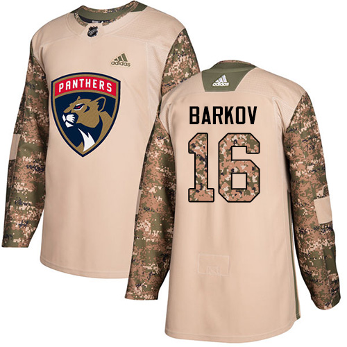 Men's Adidas Florida Panthers #16 Aleksander Barkov Authentic Camo Veterans Day Practice NHL Jersey