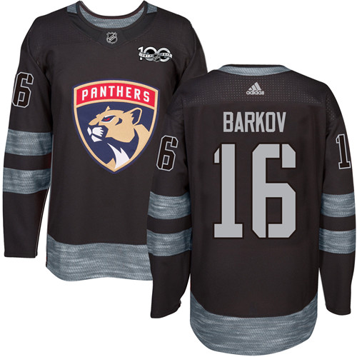 Men's Adidas Florida Panthers #16 Aleksander Barkov Authentic Black 1917-2017 100th Anniversary NHL Jersey