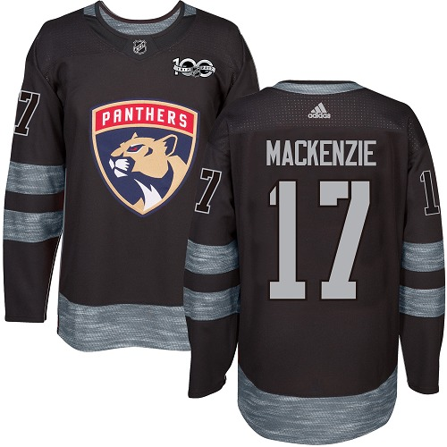 Men's Adidas Florida Panthers #17 Derek MacKenzie Authentic Black 1917-2017 100th Anniversary NHL Jersey