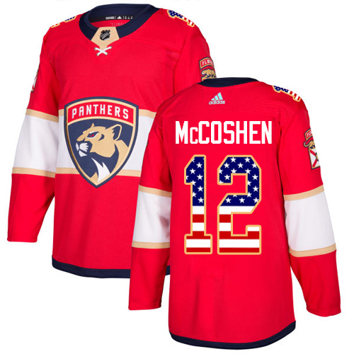 Men's Adidas Florida Panthers #12 Ian McCoshen Authentic Red USA Flag Fashion NHL Jersey