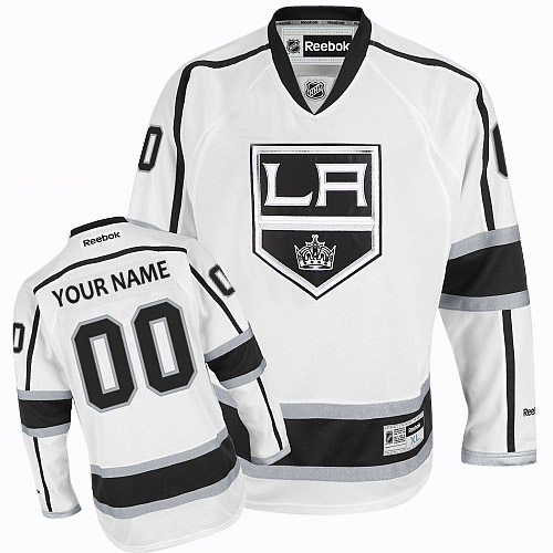 Youth Reebok Los Angeles Kings Customized Authentic White Away NHL Jersey