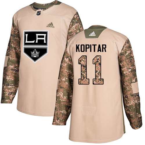 Men's Adidas Los Angeles Kings #11 Anze Kopitar Authentic Camo Veterans Day Practice NHL Jersey