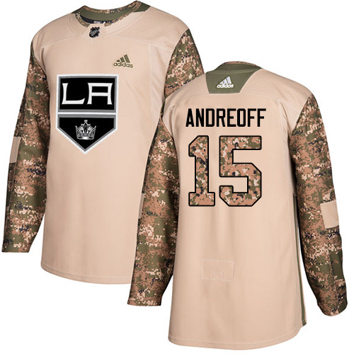 Men's Adidas Los Angeles Kings #15 Andy Andreoff Authentic Camo Veterans Day Practice NHL Jersey