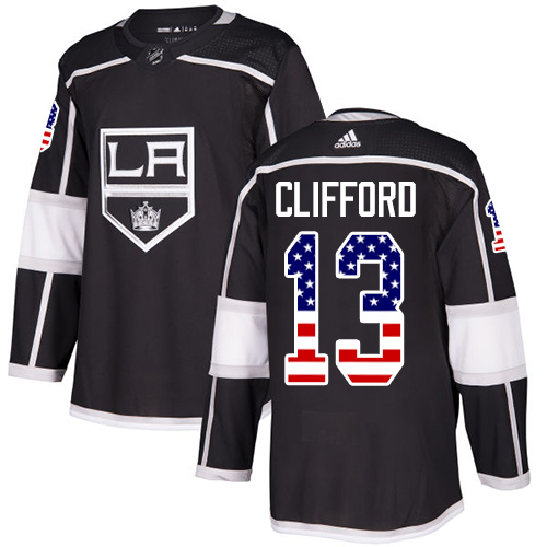 Men's Adidas Los Angeles Kings #13 Kyle Clifford Authentic Black USA Flag Fashion NHL Jersey