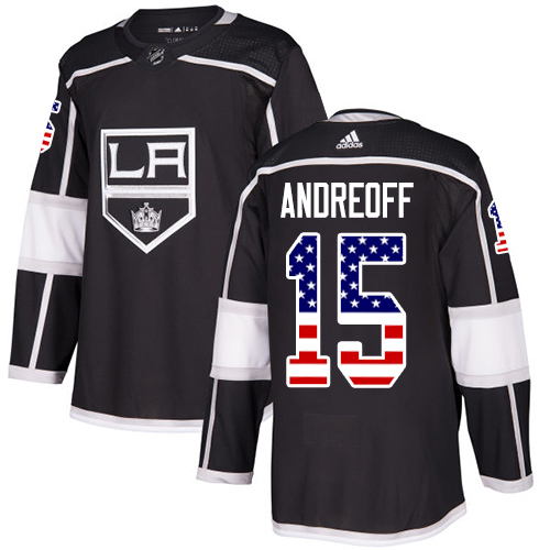 Men's Adidas Los Angeles Kings #15 Andy Andreoff Authentic Black USA Flag Fashion NHL Jersey