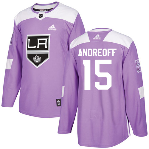 Men's Adidas Los Angeles Kings #15 Andy Andreoff Authentic Purple Fights Cancer Practice NHL Jersey