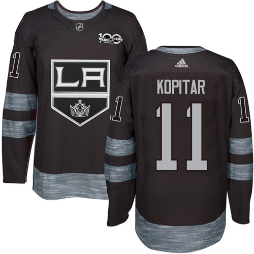Men's Adidas Los Angeles Kings #11 Anze Kopitar Authentic Black 1917-2017 100th Anniversary NHL Jersey