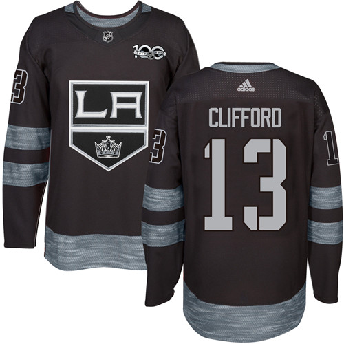 Men's Adidas Los Angeles Kings #13 Kyle Clifford Premier Black 1917-2017 100th Anniversary NHL Jersey